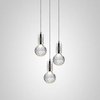 Lee Broom Crystal Bulb Chandelier Brushed Brass - Polished Chrom lampa wisząca  wielkości